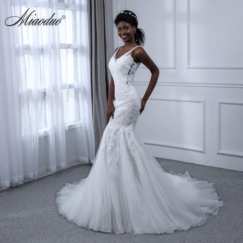 Miaoduo White Wedding Dress Appliques Lace Mermaid V-Neck 2019 Sleeveless China Bridal Gown Brautkleid Vestido De Noiva Sereia