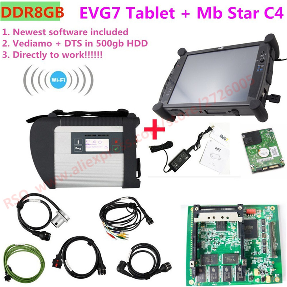 DDR8GB EVG7 Tablet and MB star c4 Connect Full Set Newest 09.2018 HDD FDOK HTT WIN for car diagnostic scanner ELM327 free gift
