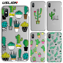 USLION Transparent Case For iPhone X XR XS Max 6 6S 8 7 Plus 5 5s SE Green Cactus Potted Plant Clear Phone Cases Soft TPU Cover(China)