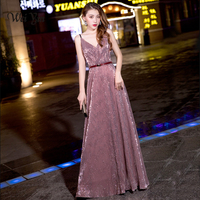 weiyin High Quality Straight Modern Sequined Evening Dress WY710 Women'S Sexy Long Deep V Neck Sleeveless Shiny Party Dresses