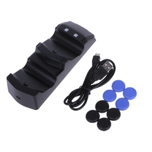 Charger LED Charging Station Dock With 8 Thumb Grips For PS4 Controller Joystick-Y1QA