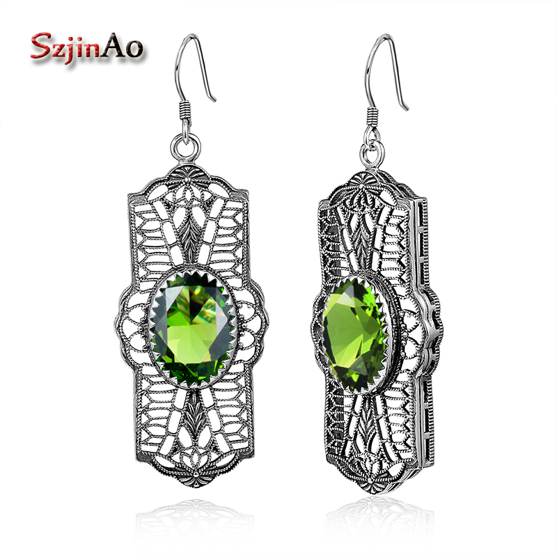 Indio esmeralda verde gotas om Design remolque amuleto 925 Sterling plata
