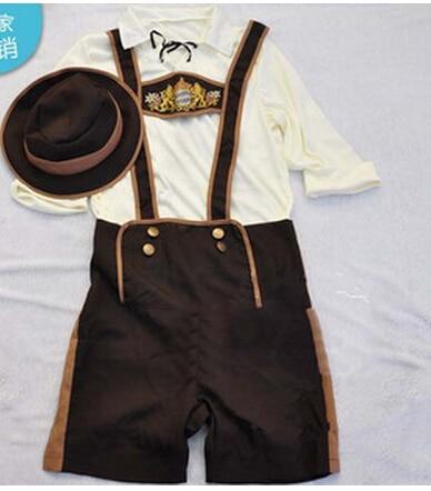 Size S-2XL New Oktoberfest Costume For Men Lederhosen Bavarian Octoberfest Festival Party Clothes Carnival Costumes For Men