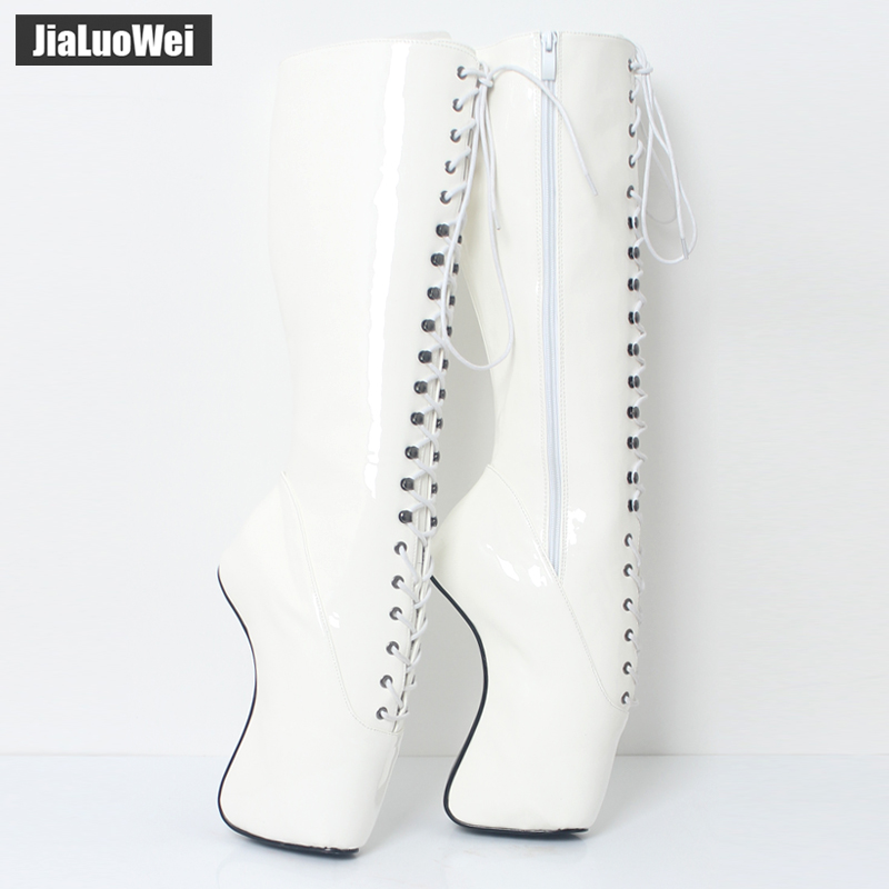 jialuowei 18CM High Heel POINTE-Toe Full Side Zipper Heelless Hoof Lace-Up Knee-High Ballet Sexy Fetish PU Leather Boots jialuowei 7 super high heel hoof heelless ballet boots transparent toe lace up zip buckle straps sexy fetish over knee boots