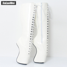 jialuowei 18CM High Heel Pointed-toe Sexy Fetish Heelless Hoof Heel Lace-Up Zip PU Leather Knee-High Ballet Boots Size 36-46 цена в Москве и Питере