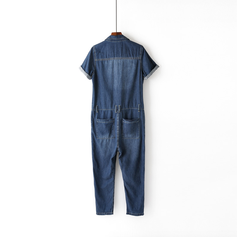 Femmes Bleu De Doux Lâche Siamois Printemps Mince Manches Salopette Demin Large D'été Pantalon Courtes Jambe Jeans Coréenne Femme rrTSwB