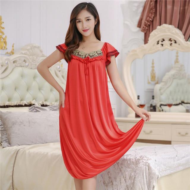7427f4131b26 Female Summer Dress Plus Size 4XL Nightgowns Nightdress Women Sexy Silk Sleepwear  Night Dress Indoor Clothing Long Nightgown