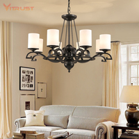 Nordic Iron Chandelier Lighting Fixture Minimalist Black Hanging Lights country wrought iron suspension Modern lamps AC110 240v