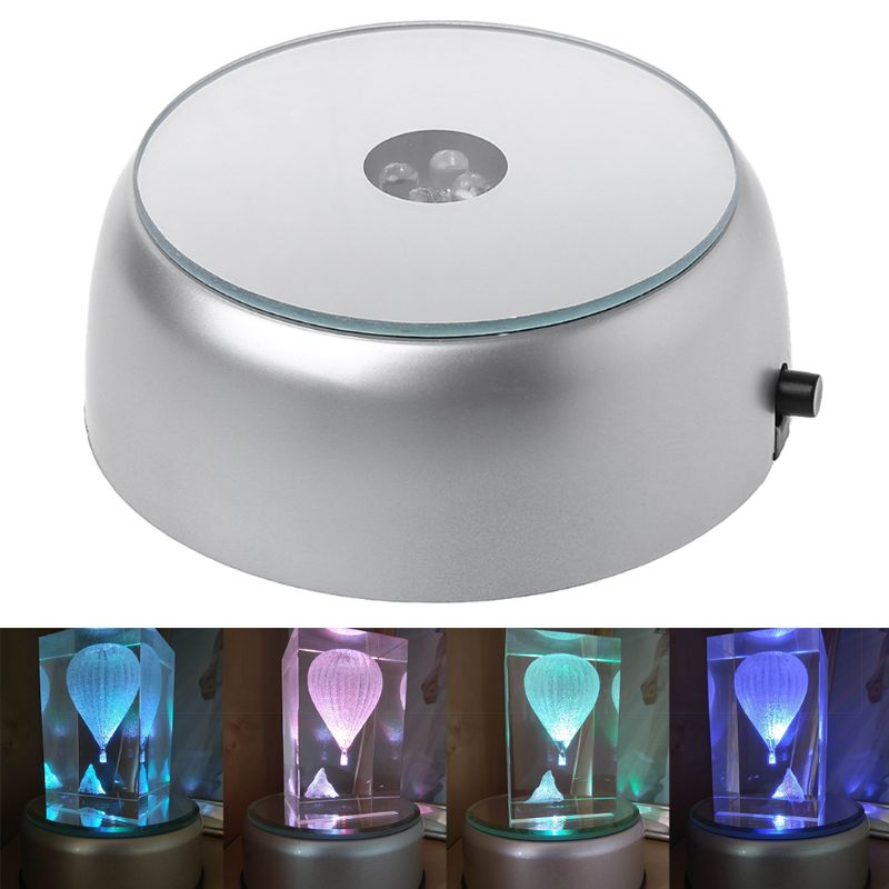 4-LED Round Luminous Base Laser Light Stand Holder For Cocktail Crystal Glass Transparent Objects Display4-LED Round Luminous Base Laser Light Stand Holder For Cocktail Crystal Glass Transparent Objects Display