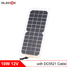 ELEGEEK 10W 12V Semi-flexible Transparent Solar Cell Panel with DC Output + Crocodile Clip 400*190mm Mini panel for DIY