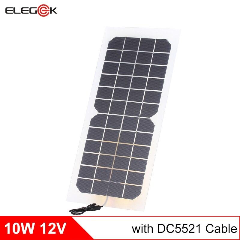 ELEGEEK 10W 12V Solar Panel Charger Semi-flexible Transparent DC Output Solar panel Cell for DIY 12V Solar Panel System