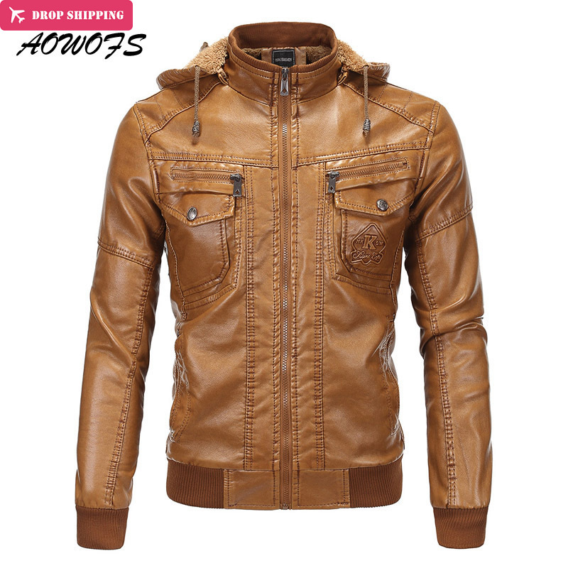 AOWOFS Winter Mens Brown Leather <font><b>Bomber</b></font> <font><b>Jackets</b></font> Hooded Warm Faux Sheepskin Motorcycle Chaqueta Men Quilted Leather Coats with Ha