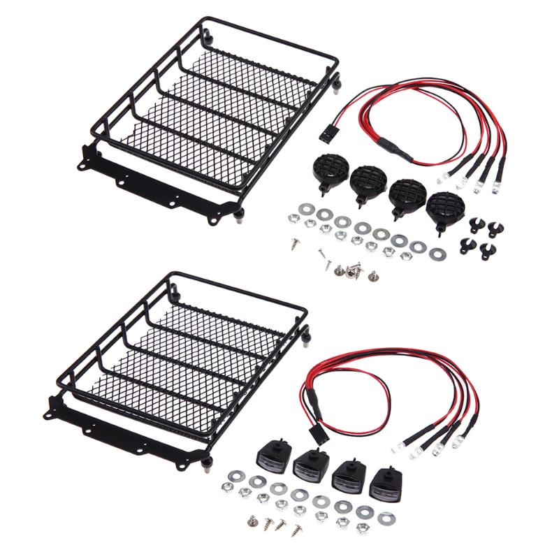 Mini Roof Rack Luggage Carrier+4pcs White LED Lights+4pcs Lampshades  For Axial SCX10 TAMIYA traxxas Car Parts Remote Control teaegg top roof rack side rails luggage carrier for hyundai tucson ix35 2010 2014