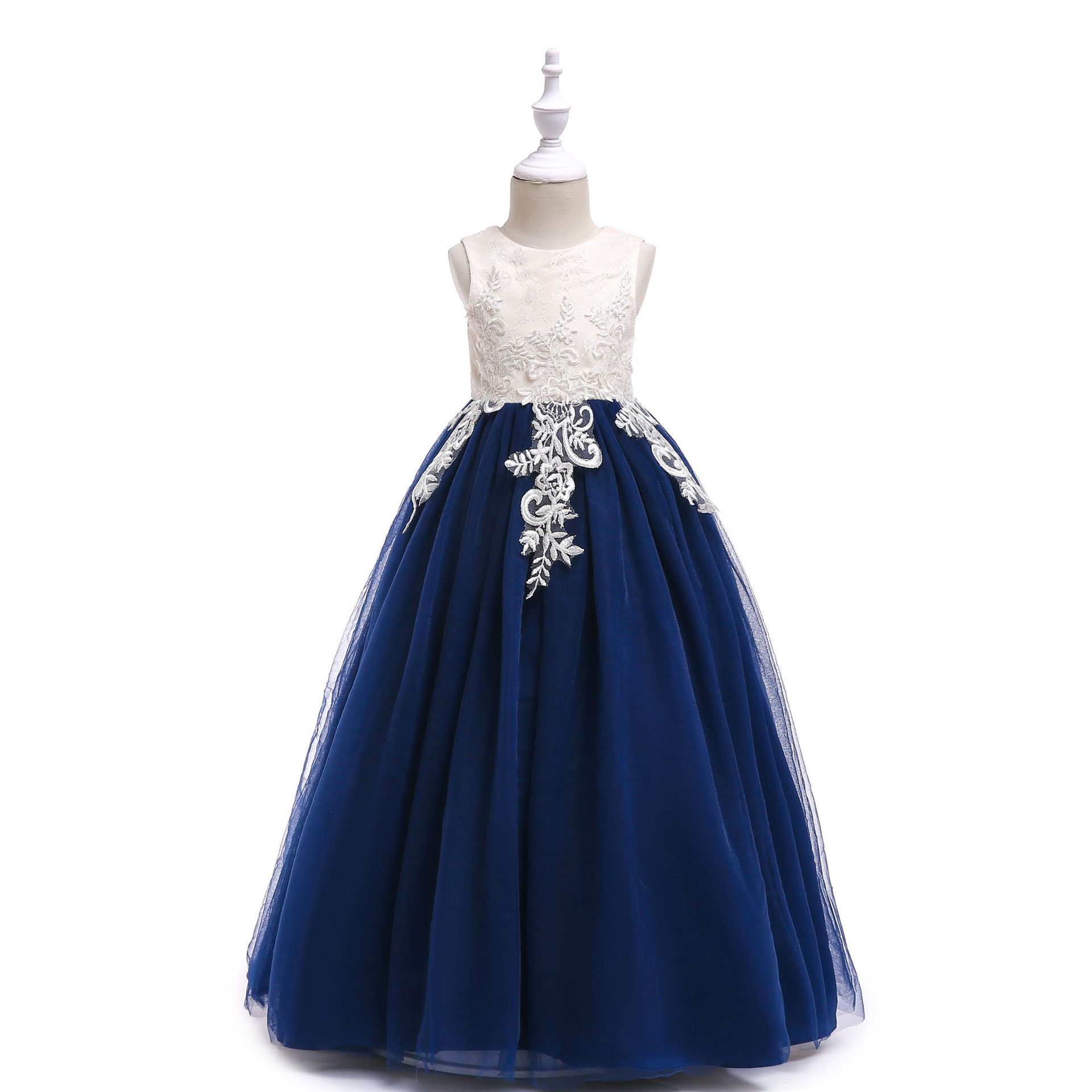 Long Flower Girls Wedding Dress Elegant Beach Navy Blue Vestido De Festa Longo 4 6 8 10 12 14 Years Old Girls Clothes 184062