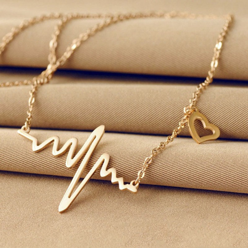 Popular Wave Heartbeat Pendant Necklace Long Sweater Chain Gold Choker Necklace Jewelry Necklaces Pendants Free shipping