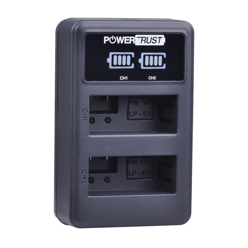 1 Pack LP-E8 LP E8 LPE8 LED Display USB Dual Charger For Canon EOS 550D 600D 650D 700D kiss X4 X5 X6i X7i Rebel T2i T3i T4i