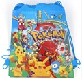 6Pcs Pokemon Pikachu Cartoon Kids Drawstring Backpack Shopping School Traveling Party Bags Birthday Gifts