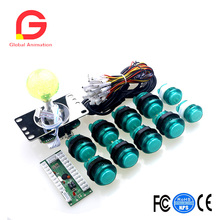 Arcade DIY Kit For PC Games USB Control Chip To LED Style Stick , LED Illuminated Select Push Button Interface Buttons Cables new interface cables for leica gps to pdl hpb a00454 type