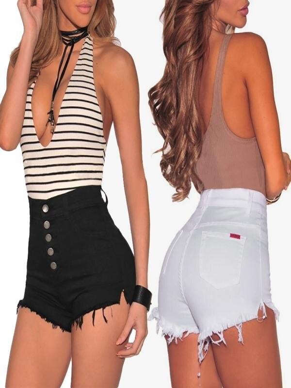 Womail Women Shorts Hole Destroyed Ripped High Waist Jeans Denim Shorts Hot Shorts Lady Fashion 2019 Elastic Cotton Dropship J16