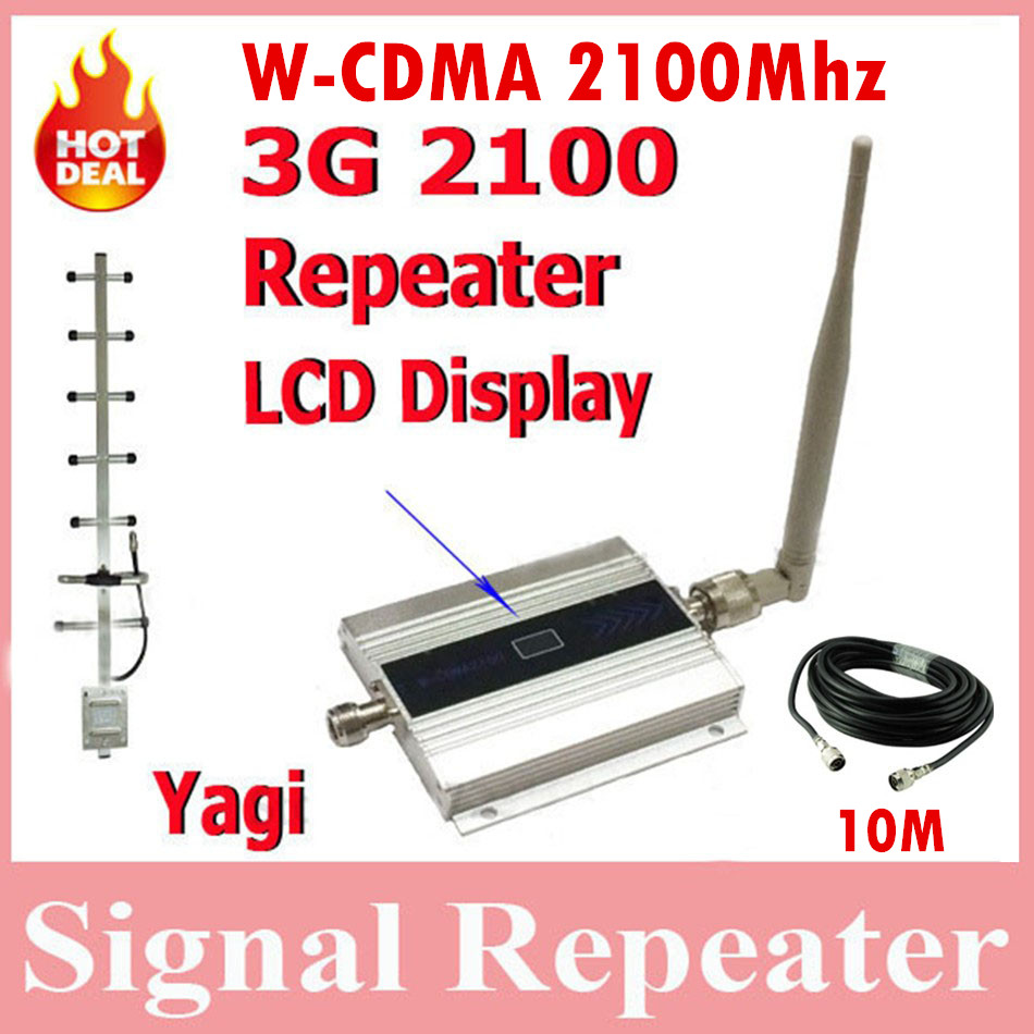 Hot sale WCDMA 3G repeater with LCD, powerful 2100mhz mobile signal booster amplifier with yagi +10M Cable and ceiling antenna