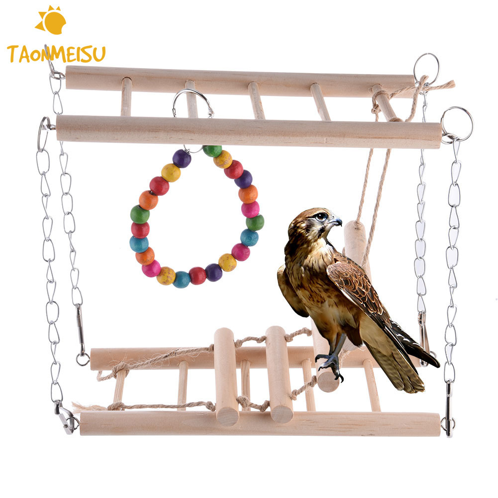 Parakeet Toys And Accessories : Pet toy wood color swings birds budgie parrot
