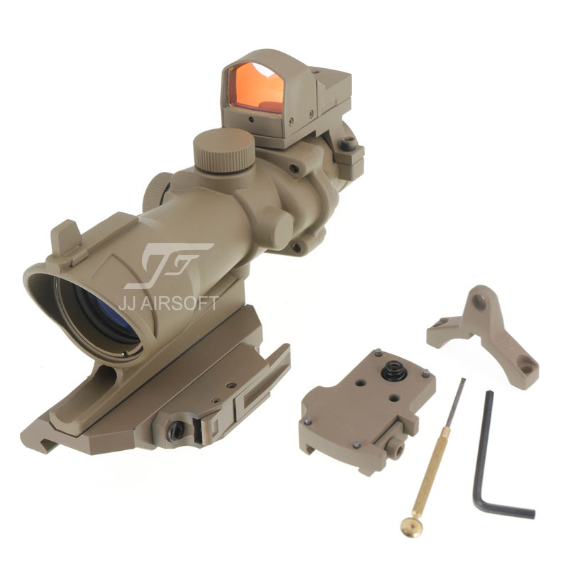 JJ Airsoft ACOG Style 4x32 Scope with Mini Red Dot , AC12033 Bobro Style Quick Release / QD Mount (Tan) jj airsoft acog style 4x32 scope with qd mount