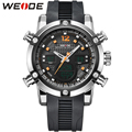 WEIDE Branded Men Wrist Watches With Date Alarm Stopwatch Analog Digital Dual Time Zone Functions Display Water Resistance 3 ATM