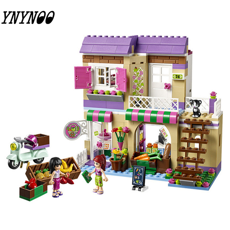 YNYNOO bale 10495 389 Pcs Friends Heartlake Food Market Building Blocks Mia Maya Bricks Toys Compatible for Girls