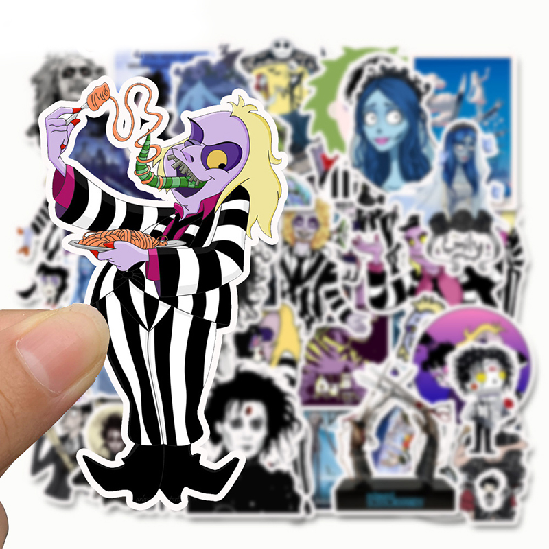 Image 2 - 50pcs Stickers Tim Burton Classic Movie Edward Scissorhands Graffiti Sticker For Skateboard Laptop Bicycle Waterproof Decals-in Stickers from Toys & Hobbies