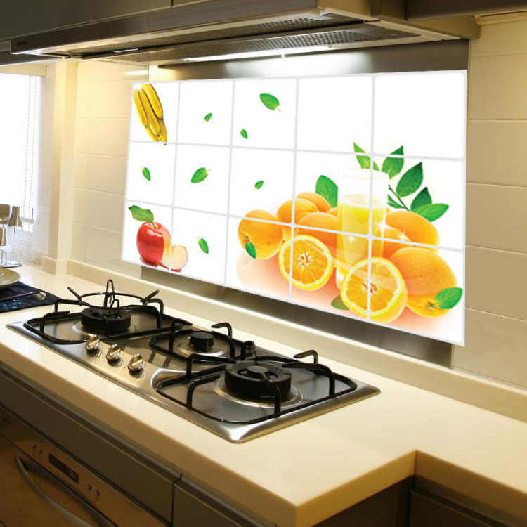 Anti-oil Kitchen Wall Stickers Foil Oil Orange Fruit Sticker Decal Home Decor Art Accessories Decorations
