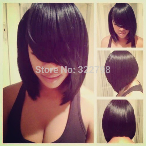 Free Shipping 100% Unprocessed Human Hair Short Bob glueless Full Lace Wig For Black Woman,130% Density all length in stock