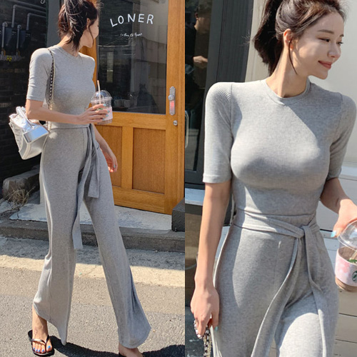 New Female Grey Fitness Women Two Pieces Sets Summer Cotton T Shirt Set Wide Legged Pants Casual Tops High Waist Trousers Suits