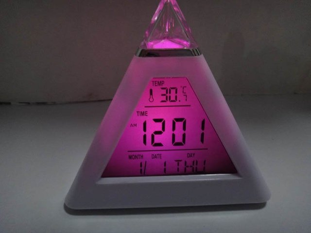Glowing 7 Color Change LED Digital Triangle Pyramid Alarm Clock desk clock  LED 7 color changing Triangle Pyramid