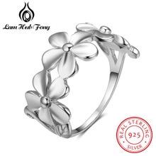 Anelli d'annata del fiore dell'argento sterlina di 100% 925 per le donne Retro dell'anello di barretta femminile Dimensione 6 7 8 Monili autentici di marca