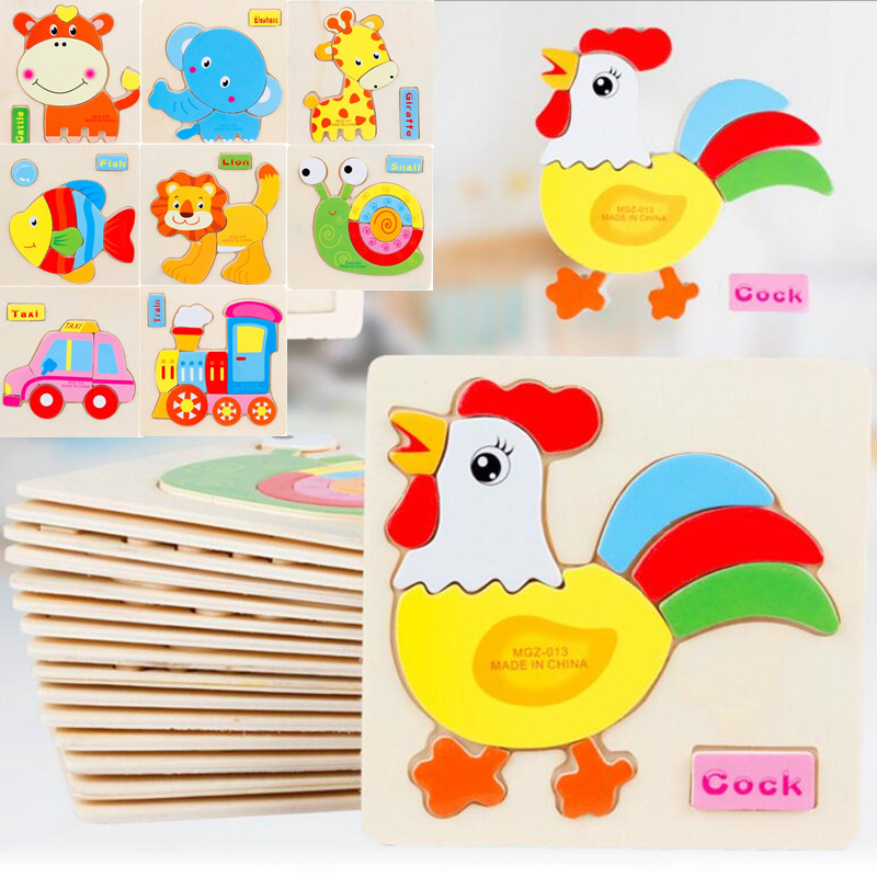 3D New Puzzle Wooden Colorful Toy Jigsaw For Children Cartoon Animal Cars Fruit Fish Puzzle Intelligence Kids Educational Toys electric spider robot toy diy educational intelligence development assembles kids children puzzle action toys kits