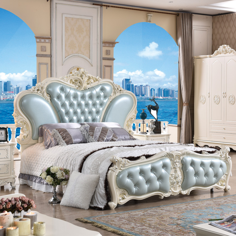 Factory Price Royal Resin French Bed Blue Leather