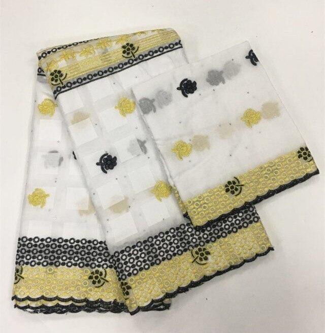 Tissu africain en dentelle de coton 2019 broderie de haute qualité avec écharpe en coton de 2 mètres
