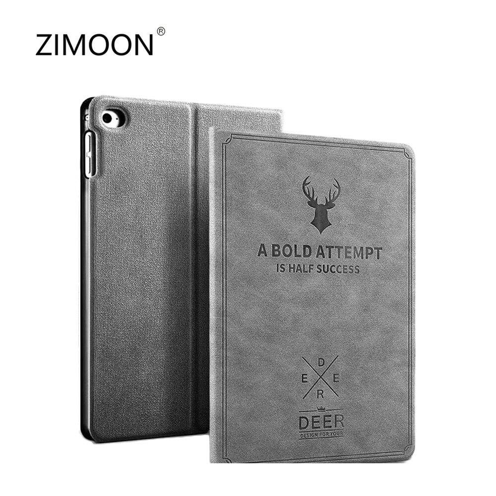 ZIMOON for iPad mini 1 2 3 case Retro canvas leather case for iPad mini 1 2 3 cover Smart sleep wake cover for iPad mini case