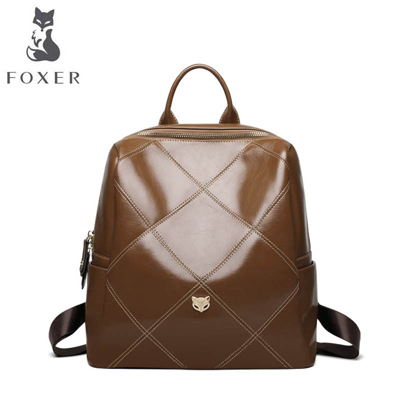 FOXER 2018 New women leather bag fashion school bags for teenage girls women backpack tegaote new design women backpack bags fashion mini bag with monkey chain nylon school bag for teenage girls women shoulder bags