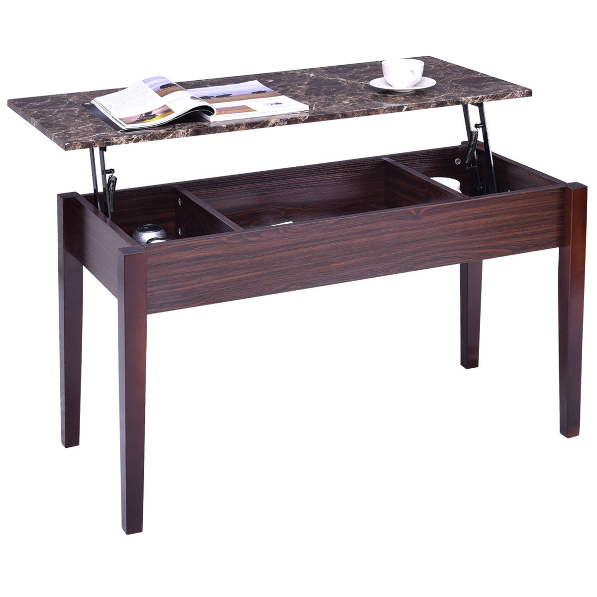Giantex Faux Marble Lift Top Coffee Table With Hidden
