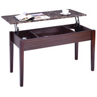 Giantex Faux Marble Lift Top Coffee Table With Hidden Storage Compartment Solid Wood Legs Modern Living