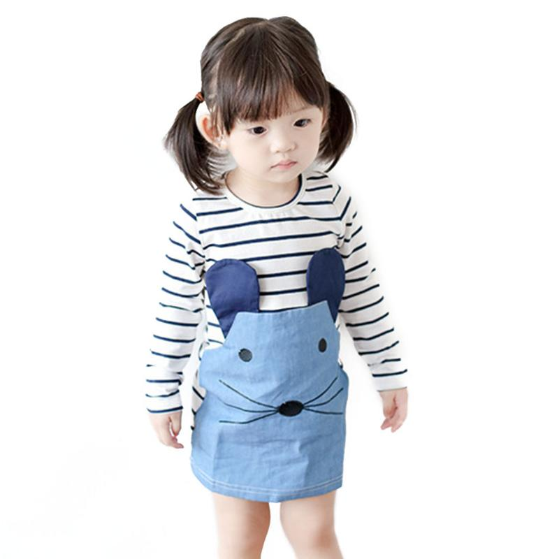 Baby Girl Dresses Striped Patchwork Character Long Sleeve Cute Mouse Children Clothing Kids Girls Dress Denim Kids Clothes цены онлайн