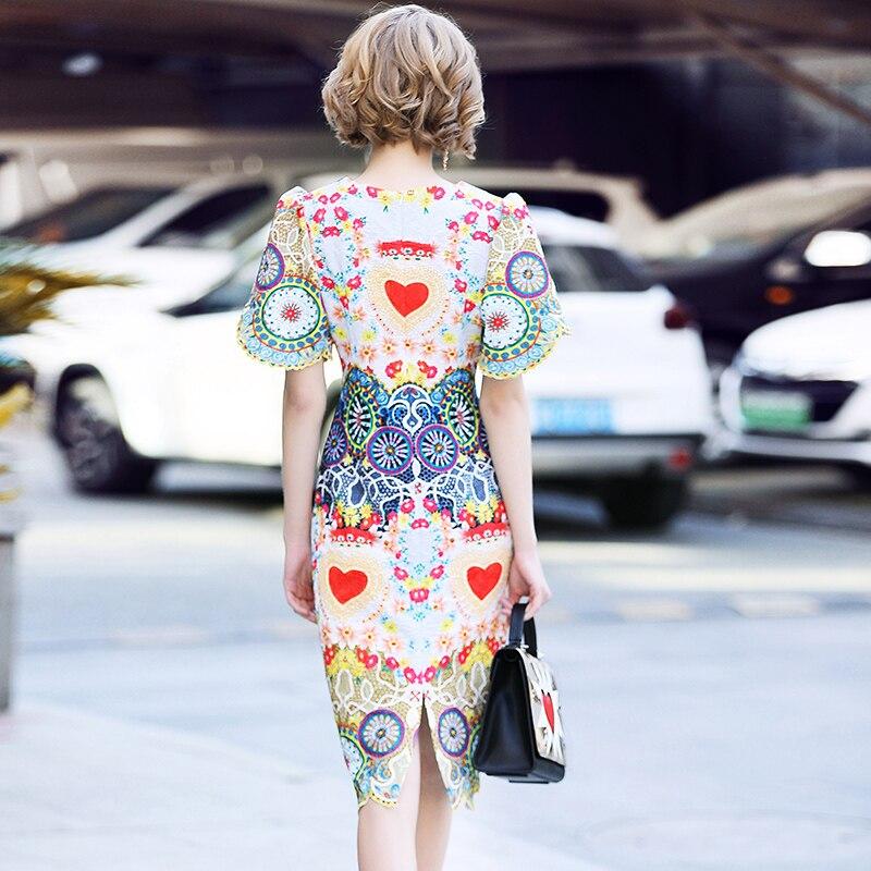 Imprimer Les Luxe Parti Femmes Piste Mode Vintage 2018 Nouveau Robe Casual Haute Rétro Qualité Perles D'été De Robes 0PZ4xTwq