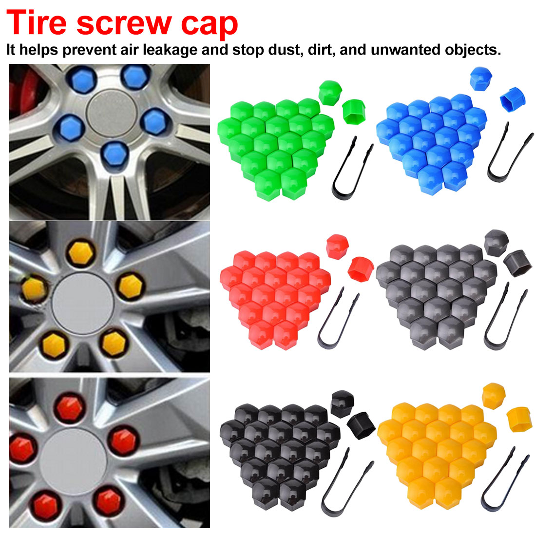 17mm 19mm 21mm Special Socket Protection Dust Proof Car Bolt Rims Exterior Decoration Wheel Nut Caps Auto Hub Screw Cover