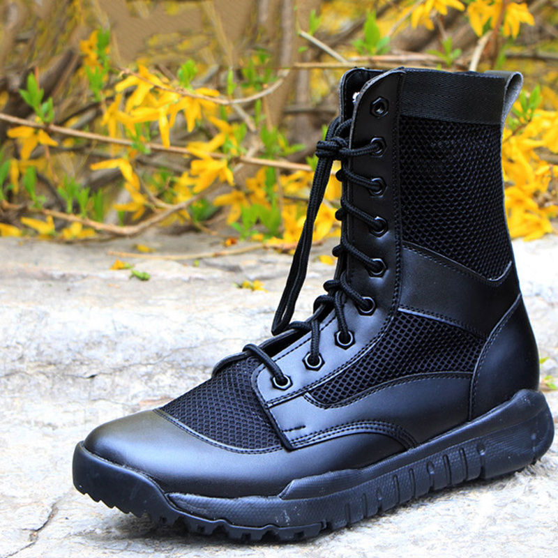 Summer Men Military Boots Ultra-light Army Boots For Men Leather Mesh Breathe Freely Boots Outdoor Tactical Boots Leather