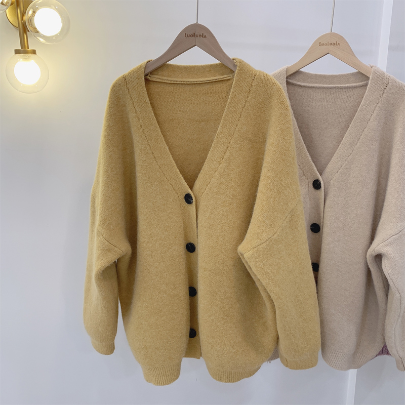 Winter Warm Thick Cardigans Women Long Sleeve V Neck Solid Loose Casual Sweaters Oversize Knitting Coats