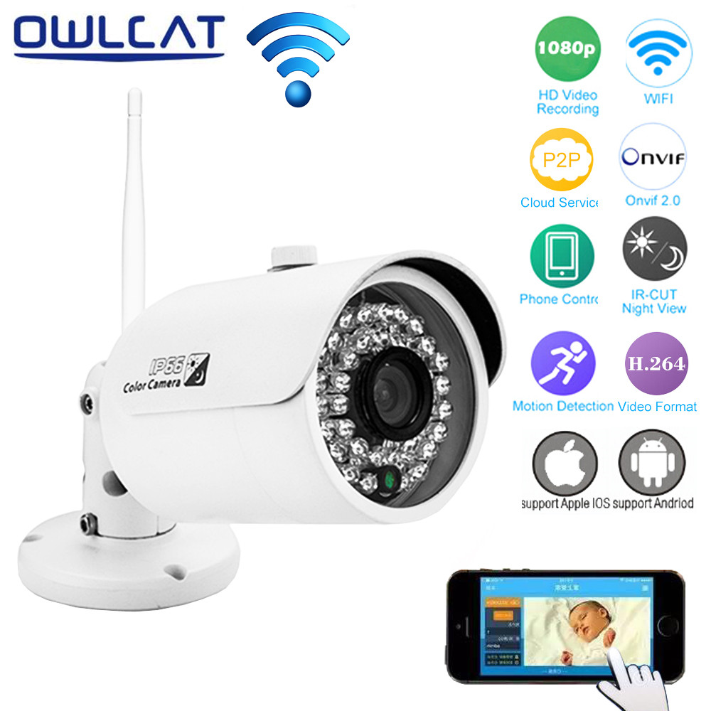 OwlCat Home Security IP Camera Wifi Wireless Waterproof IP66 Surveillance Camera 2MP Full HD 1080P 720P Night Vision CCTV Camera owlcat wifi ip camera bullet outdoor waterproof onvif wireless network kamara 2mp full hd 1080p 720p security cctv camera