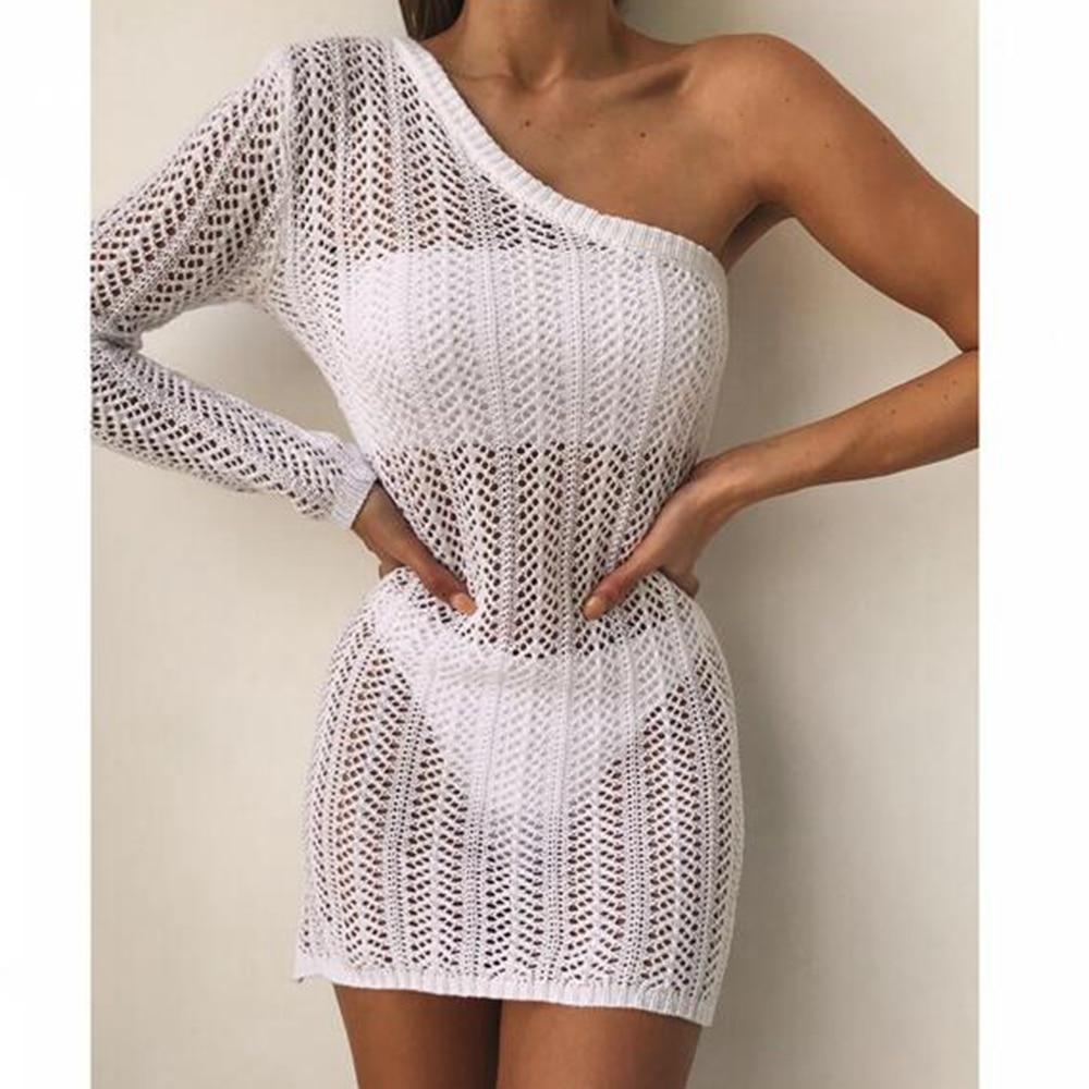 Crochet Mini Beach Dress White Off Shoulder Swimsuit Cover Ups Hollow Out Beachwear Cotton Mesh Cover-ups Women Saida De Praia