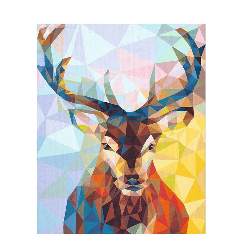 Crystal porcelain deer Animal DIY Digital Painting By Numbers Modern Wall Art Canvas Painting Christmas Gift Home Decor 40x50cm