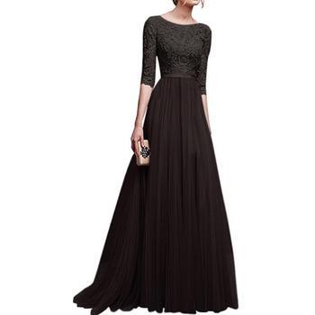 9eab16abd0 Llegada de un nuevo encaje empalme Chiffon vestido de fiesta por la noche  las mujeres vestido de media manga piso-longitud vestido elegante largo